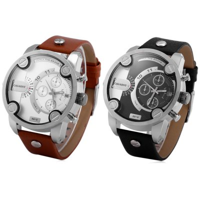 Cagarny 6819 Sports Japan Quartz Watch Date Round Dial Leather Strap for Men