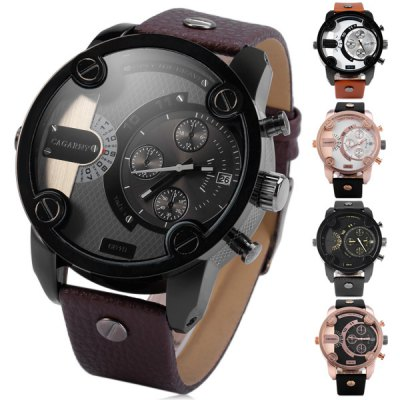 Гаджет   Cagarny 6819 Male Quartz Watch with Date Japan Movt Round Dial Leather Wristband Men