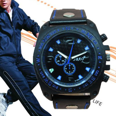 S - 1032 Bright Color Large Dial Sports Watch with Decorative Small Sub - dial Leather BandMens Watches<br>S - 1032 Bright Color Large Dial Sports Watch with Decorative Small Sub - dial Leather Band<br><br>Watches categories: Male table<br>Watch style: Fashion<br>Available color: Blue, Orange, Yellow, Red<br>Movement type: Quartz watch<br>Shape of the dial: Round<br>Display type: Analog<br>Case material: Alloy<br>Band material: Leather<br>The dial thickness: 1.37 cm / 0.54 inches<br>The dial diameter: 4.93 cm / 1.94 inches<br>The band width: 2.4 cm / 0.95 inches<br>Product size (L x W x H): 26 x 4.93 x 1.37 cm / 10.24 x 1.94 x 0.54 inches<br>Package Contents: 1 x Watch