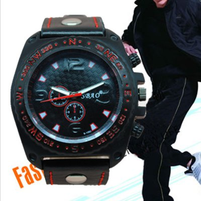 Гаджет   S - 1032 Bright Color Large Dial Sports Watch with Decorative Small Sub - dial Leather Band Men