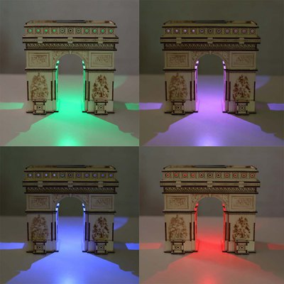 DIY Colored Drawing Assembly Arch of Triumph with Solar Sensation LED Light