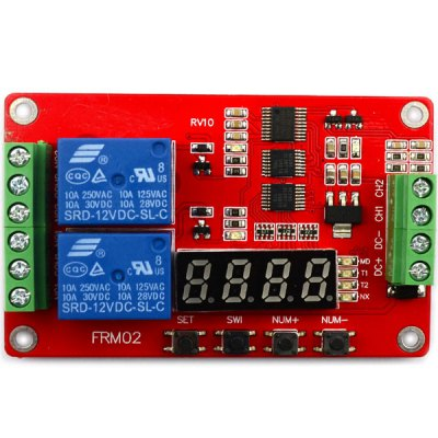 Full Function Practical DC 12V 2 Channel Time Relay Module for DIY