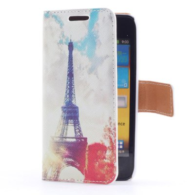 ФОТО Smart Phone Cover Case with Sun + Tower Pattern Stand Function + Card Slots for Samsung i9070