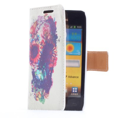 Гаджет   Smart Phone Cover Case Ghost Head with Flower Pattern Stand Function + Card Slots for Samsung i9070 S Advance Samsung Cases/Covers