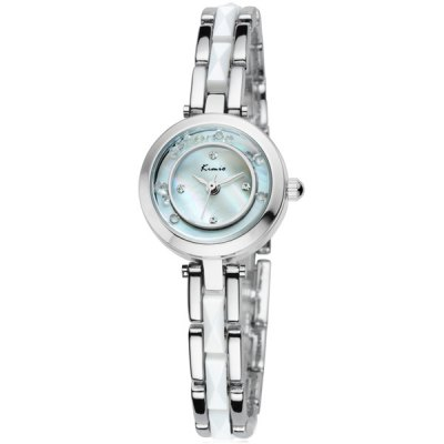 Kimio Alloy Body Female Quartz Watch Rolling Diamond Chain Wristwatch