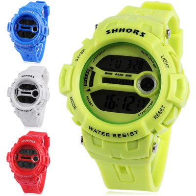 Shhors 733 LED Sports Military Watch Multifunction with Day Date Alarm Stopwatch Water Resistant