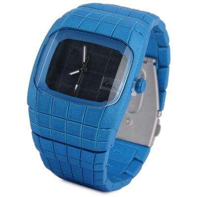 ФОТО Men Quartz Watch Rectangle Dial Square Time Scale Stainless Steel Spider Man Style Watchband