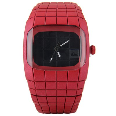 Гаджет   Men Quartz Watch Rectangle Dial Square Time Scale Stainless Steel Spider Man Style Watchband Men