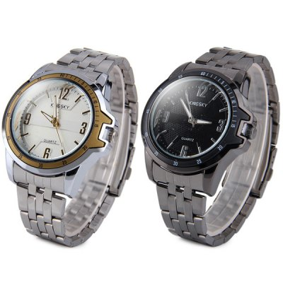 Kingsky Male Quartz Watch with Steel Body and Round DialMens Watches<br>Kingsky Male Quartz Watch with Steel Body and Round Dial<br><br>Watches categories: Male table<br>Watch style: Business<br>Style elements: Stainless steel<br>Available color: Black, Silver<br>Movement type: Quartz watch<br>Shape of the dial: Round<br>Display type: Analog<br>Case material: Stainless steel<br>Band material: Steel<br>Clasp type: Folding clasp with safety<br>The dial thickness: 0.9 cm / 0.4 inches<br>The dial diameter: 4.5 cm / 1.8 inches<br>The band width: 1.8 cm / 0.7 inches<br>Product weight: 0.106 kg<br>Product size (L x W x H): 15.0 x 4.5 x 0.9 cm / 5.9 x 1.8 x 0.4 inches<br>Package Contents: 1 x Men Quartz Watch