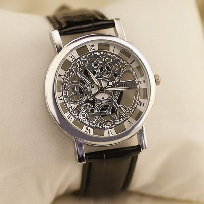 Гаджет   Kings Double - sided Hollow - out Style Quartz Watch Leather Strap for Men Men