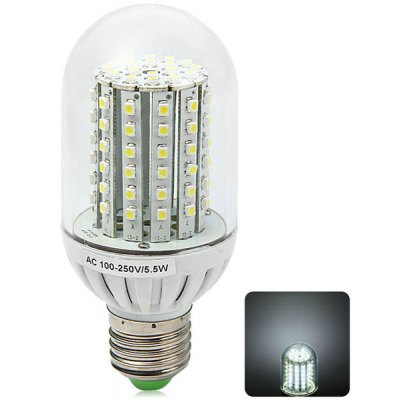 E27 5.5W 90 SMD 3528 600Lm White Light LED Corn Bulb