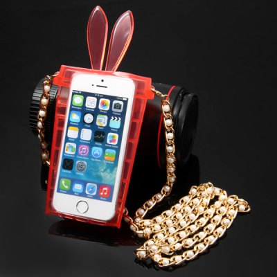 Гаджет   Rabbit Ear Cup Style Transparent Hang Rope TPU Back Cover Case for iPhone 5 5S iPhone Cases/Covers