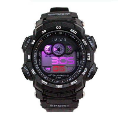 ФОТО JS - 933C Colorful LED Sports Watch with Water Resistance Large Dial Stopwatch Week Date Alarm