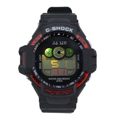 ФОТО JS - 953C Colorful LED Sports Watch with Water Resistance Large Dial Stopwatch Week Date Alarm