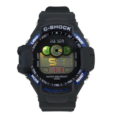 Гаджет   JS - 953C Colorful LED Sports Watch with Water Resistance Large Dial Stopwatch Week Date Alarm Men