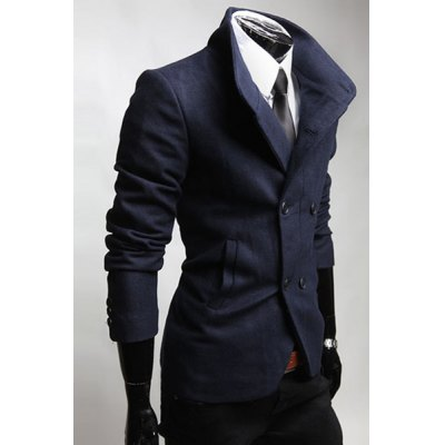 Trendy Stand Collar Double-Breasted Slimming Pocket Embellished Long Sleeves Mens Woolen CoatMens Jakets &amp; Coats<br>Trendy Stand Collar Double-Breasted Slimming Pocket Embellished Long Sleeves Mens Woolen Coat<br><br>Clothes Type: Wool &amp; Blends<br>Material: Wool, Polyester<br>Collar: Mandarin Collar<br>Clothing Length: Regular<br>Style: Fashion<br>Weight: 0.845KG<br>Sleeve Length: Long Sleeves<br>Season: Winter, Fall<br>Package Contents: 1 x Coat