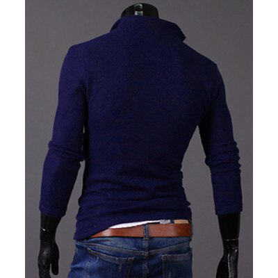ФОТО Stylish Turndown Collar Slimming Oblique Zipper Design Long Sleeve Polyester Cardigan For Men