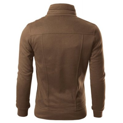 ФОТО Stylish Turndown Collar Slimming Pocket and Button Design Long Sleeve Polyester Sweatshirt For Men