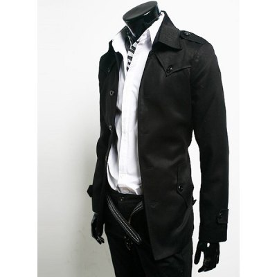Гаджет   Laconic Shoulder Strap and Button Design Turn-down Collar With Belt Long Sleeves Men