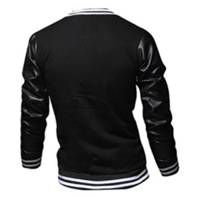 ФОТО Stylish Stand Collar Slimming Color Block PU Leather Splicing Long Sleeve Polyester Jacket For Men