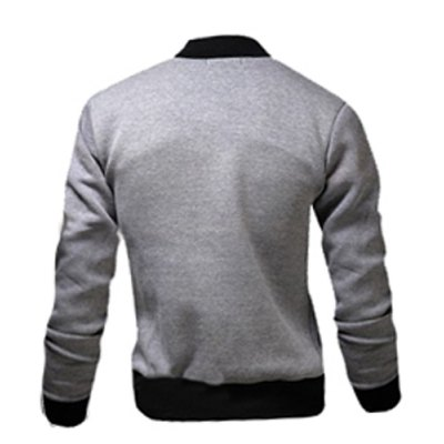 ФОТО Stylish Stand Collar Slimming Color Block Rib Splicing Long Sleeve Polyester Jacket For Men