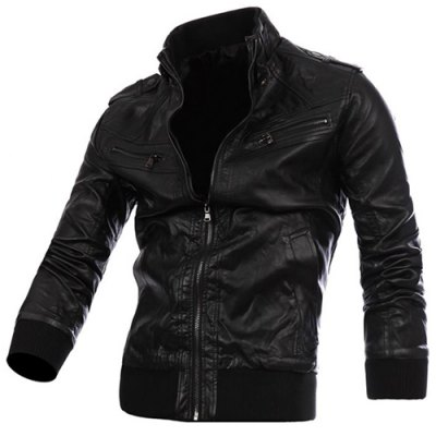 Stand Collar PU Leather Jacket