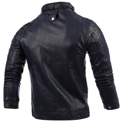 Гаджет   Stylish Stand Collar Slimming Button and Zipper Design Long Sleeve PU Leather Jacket For Men Jackets & Coats