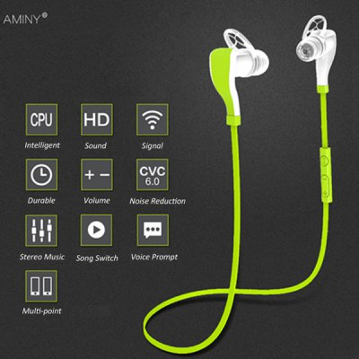 Aminy BH35 Sports Bluetooth V4.1 Hands Free Earphone for Smartphone Tablet PCSports &amp; Fitness Headphones<br>Aminy BH35 Sports Bluetooth V4.1 Hands Free Earphone for Smartphone Tablet PC<br><br>Brand: Aminy<br>Model  : BH35<br>Color : Green<br>Wearing type : In-Ear<br>Feature: Multi-language voice prompt (English, French, Spanish, Chinese)<br>Function : Microphone, Voice control, Answering phone, Song switching, Bluetooth, Multi connection function, Noise Cancelling<br>Connectivity : Wireless<br>Connecting interface : Micro USB<br>Application : Sport<br>Power supply: Built-in rechargeable battery<br>Working time: Talk time: 4 - 5 hours; Music time: 4 hours<br>Standby time: Up to 150 hours<br>Charging time: About 2 hours<br>Bluetooth: Yes<br>Bluetooth version: V4.1<br>Powlev: CLASS II<br>Bluetooth distance: W/O obstacles 10m<br>Bluetooth band: 2.4GHz<br>Bluetooth protocol: AVRCP<br>Product weight  : 0.018 kg<br>Package weight  : 0.120 kg<br>Package size (L x W x H) : 16 x 12 x 5 cm / 6.29 x 4.72 x 1.97 inches<br>Package contents: 1 x Earphone, 1 x USB Cable