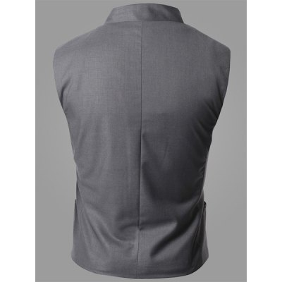 Гаджет   Trendy Stand Collar Personality Inclined Button Fly Slimming Sleeveless Men