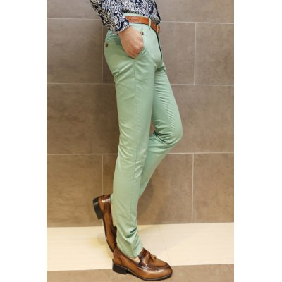 Гаджет   Laconic Zipper Fly Solid Color Slimming Button Embellished Straight Leg Men