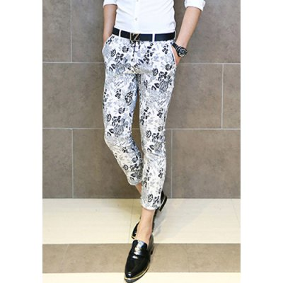 Гаджет   Slimming Zipper Fly Retro Floral Print Button Embellished Straight Leg Men