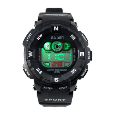 ФОТО JS - 952C Colorful LED Sports Watch with Water Resistance Large Dial Stopwatch Week Date