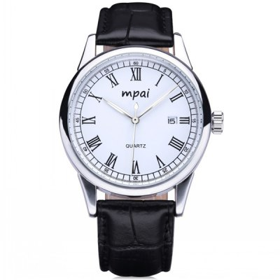 Mpai Men Japan Quartz Watch 3ATM Water Resistant Date Function Leather Band