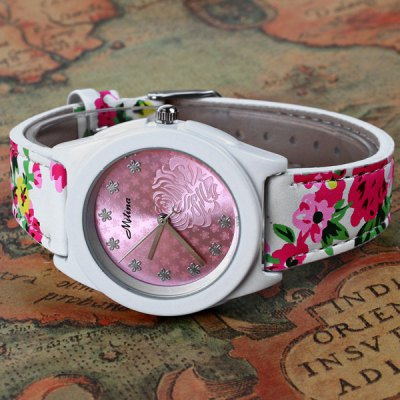Mitina M - 241 Quartz Watch Japan Movt Flower Leather Wristband for WomenWomens Watches<br>Mitina M - 241 Quartz Watch Japan Movt Flower Leather Wristband for Women<br><br>Watches categories: Female table<br>Available color: Green, Blue, Pink, Khaki, Black<br>Style : Fashion&amp;Casual<br>Movement type: Quartz watch<br>Shape of the dial: Round<br>Display type: Analog<br>Case material: Stainless steel<br>Band material: Leather<br>Clasp type: Pin buckle<br>The dial thickness: 0.8 cm / 0.31 inches<br>The dial diameter: 4.0 cm / 1.57 inches<br>The band width: 1.8 cm / 0.71 inches<br>Product weight: 0.039 kg<br>Package weight: 0.089 kg<br>Product size (L x W x H) : 24.3 x 4 x 0.8 cm / 9.55 x 1.57 x 0.31 inches<br>Package size (L x W x H): 25.3 x 5 x 1.8 cm / 9.94 x 1.97 x 0.71 inches<br>Package contents: 1 x Watch