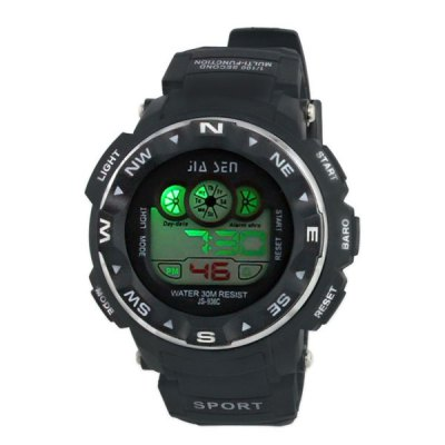 ФОТО JS - 936C Colorful LED Sports Watch with Water Resistance Large Dial Stopwatch Week Date Alarm
