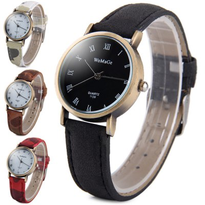 Гаджет   WoMaGe 1128 - 9 Water Resistant Women Quartz Watch Analog Round Dial Leather Strap Women