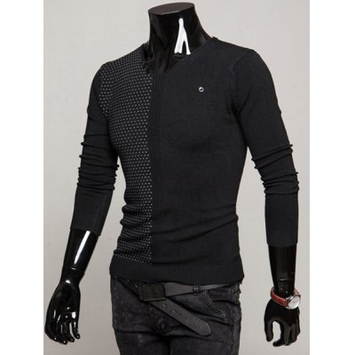 Гаджет   Stylish V-Neck Slimming Dots Print Buttons Embellished Long Sleeve Polyester Sweater For Men Sweaters & Cardigans