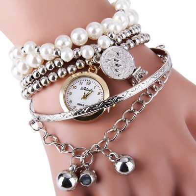 Ailisha Female Quartz Pendants Multilayer Chain Watch with Beads Round DialWomens Watches<br>Ailisha Female Quartz Pendants Multilayer Chain Watch with Beads Round Dial<br><br>Watches categories: Female table<br>Available color: Silver, Gold<br>Style : Fashion&amp;Casual<br>Movement type: Quartz watch<br>Shape of the dial: Round<br>Display type: Analog<br>Case material: Steel<br>Case color: Gold<br>Band material: Plastic and steel<br>The dial thickness: 0.5 cm / 0.20 inches<br>The dial diameter: 2.2 cm / 0.87 inches<br>Product weight: 38 g<br>Package weight: 0.088 kg<br>Product size (L x W x H) : 9 x 8 x 2 cm / 3.54 x 3.14 x 0.79 inches<br>Package size (L x W x H): 10 x 9 x 3 cm / 3.93 x 3.54 x 1.18 inches<br>Package contents: 1 x Watch