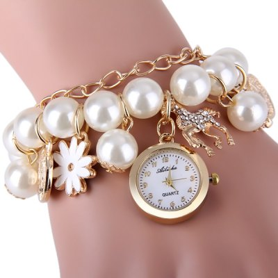 Ailisha Female Quartz Pendants Chain Watch Beads Round Dial