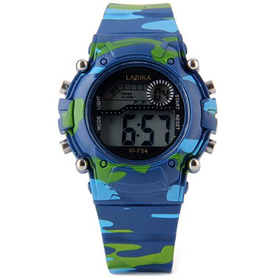 F54 Round Casual Waterproof Cold Light Sport Watch with Snooze Stopwatch Function