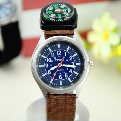 Kasiou Male Outdoor Sports Quartz Watch Nylon Band with Compass Function