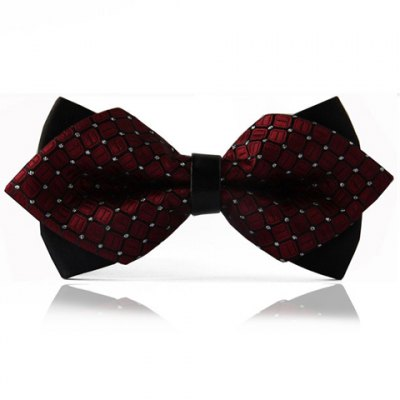 Chic Checked Pattern Design Double-Deck Bow Tie For Men