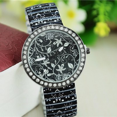 Steel Elastic Strap Diamond Bezel Quartz Watch for Ladies