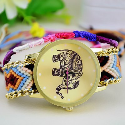 Female Elephant Quartz Wrist Watch Pull Cords Bracelet Woven WoolenWomens Watches<br>Female Elephant Quartz Wrist Watch Pull Cords Bracelet Woven Woolen<br><br>Watches categories: Female table<br>Style : Retro, Fashion&amp;Casual<br>Movement type: Quartz watch<br>Shape of the dial: Round<br>Display type: Analog<br>Case material: Stainless steel<br>Band material: Woolen<br>The dial thickness: 0.6 cm / 0.24 inches<br>The dial diameter: 3.8 cm / 1.49 inches<br>Product weight: 30 g<br>Package weight: 0.080 kg<br>Product size (L x W x H) : 22 x 3.8 x 0.6 cm / 8.65 x 1.49 x 0.24 inches<br>Package size (L x W x H): 23 x 4.8 x 1.6 cm / 9.04 x 1.89 x 0.63 inches<br>Package contents: 1 x Watch