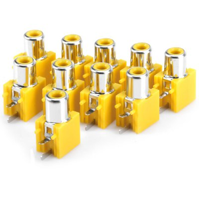 High Performance RCA Sockets Audio Video Adapters for DIY Project  -  ( DC 50V 0.3A / 10PCS )