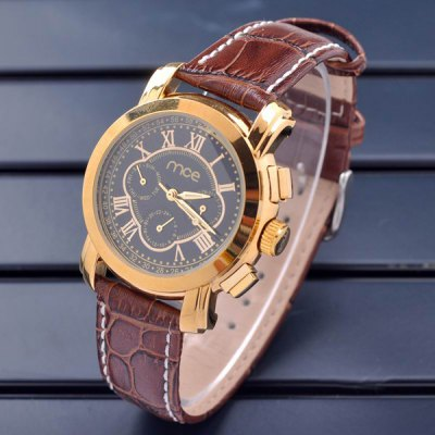 Mce Hollow Out Automatic Mechanical Watch Leather Band Working Sub - dials for Men