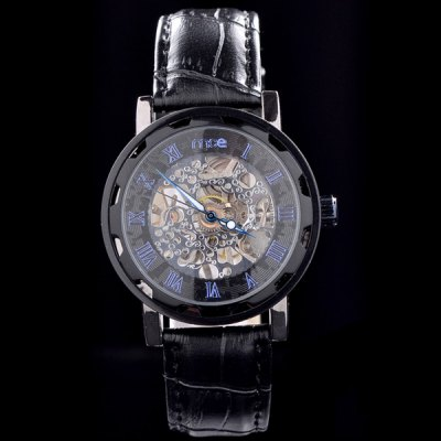 ФОТО Mce Roman Numeral Markers Semi - automatic Mechanical Watch Male Hollow - out Wristwatch Leather Band
