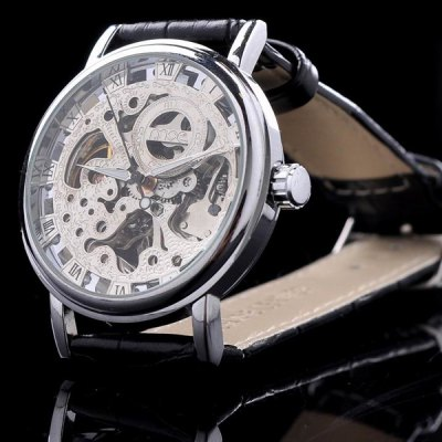 ФОТО Mce Semi - automatic Mechanical Watch Male Hollow - out Wristwatch Alloy Case Round Dial