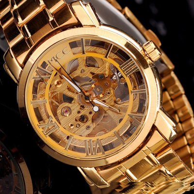 ФОТО Mce IP Plating Automatic Mechanical Watch Male Hollow - out Wristwatch Alloy Body