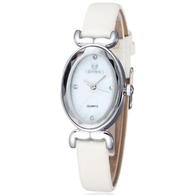 Skone Japan Quartz Watch Shell Face Oval Dial Leather Strap for Women